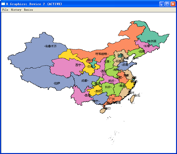 r语言画中国地图,并标注各省名称