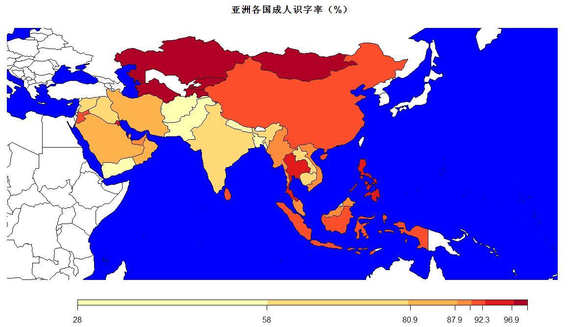 亚洲国家_r9 第十四周作业亚洲国家成人识字率热力地图