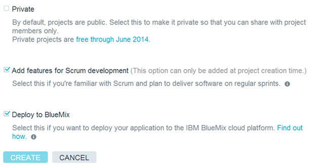 Prviate、Add features for Scrum development 和 Deploy to Bluemix 选项的屏幕截图